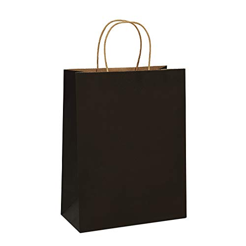 BagDream Gift Bags 10x5x13 Kraft Paper Bags 25Pcs Paper Shopping Bags, Mechandise Bags, Retail Bags, Party Bags, Black Paper Gift Bags with Handles, 100% Recycled Paper Bags