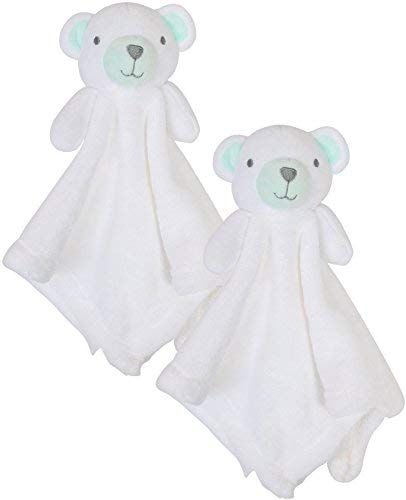 Bon Bebe Newborn Baby Huggybuddy Plush Security Blanket (2 Pack) Bear, Newborn