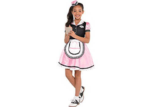 Waitress Costume for Halloween Party, School Acting, Costume Party, Play Restaurant Game, Dia Brujas for Kids Size M (1 Pack) -