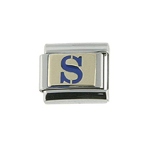 - Stainless Steel 18k Gold Italian Charm Initial Letter S for Italian Charm Bracelets Blue Enamel
