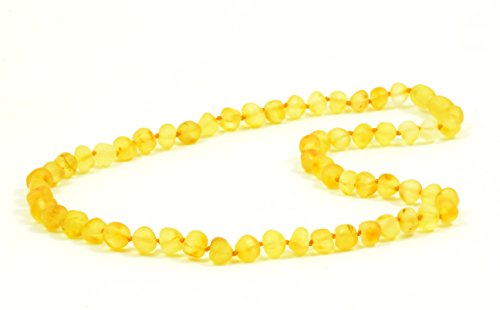 Baltic Amber Adult Necklace - AmberJewelry - Made from Unpolished/Authentic Baltic Amber Beads (19.7 inches (50 cm), Lemon)
