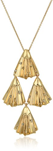 - Alexis Bittar Crystal Studded Pleated Articulating Gold Tone Pendant Necklace, 32