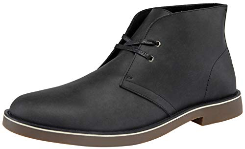 JOUSEN Men's Chukka Boot Leather Desert Boot 2 Eyelets Ankle Boot (10.5,Black)