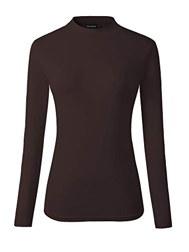 Veranee Women's Long Sleeve Slim Fit Turtleneck Basic Layering T-Shirt (X-Large, Coffee)