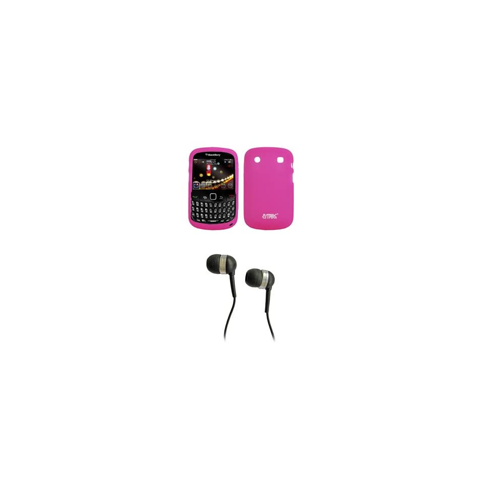 EMPIRE Hot Pink silicone Skin Case Cover + Stereo Hands Free 3.5mm Headset Headphones for Blackberry Bold Dakota