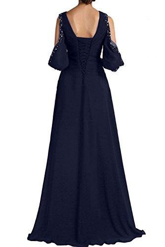 Abendkleider Ivydressing Partykleider Mutterkleider Neu Bodenlang Wunderschon Chiffon Arm mit 2017 Damen Weinrot Navy xBrY1BwqZ
