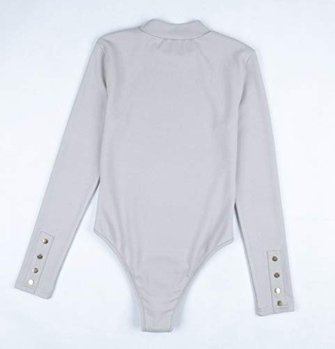 Manica Unita Moda Bodysuit Playsuit Jumpsuits Leotard Donna Onlyoustyle Allungare Top Bottoni Intere Tinta Lunga Strisce Pagliaccetto Eleganti Grigio vxw6qY
