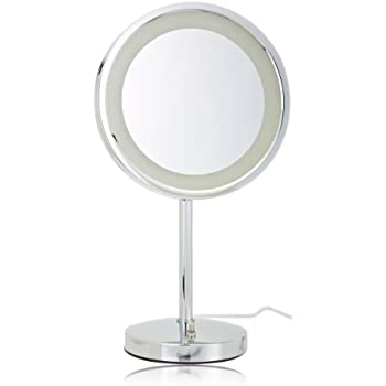 Amazon Com Jerdon Hl1015cl 9 5 Inch Led Lighted Vanity Mirror With 5x Magnification Chrome