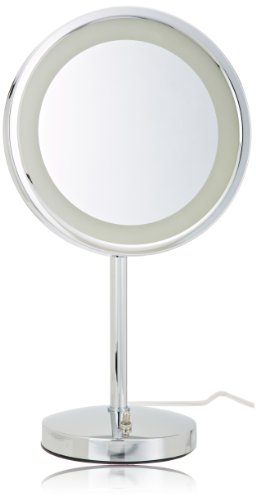 Jerdon HL1015CL 9.5-Inch LED Lighted Vanity Mirror with 5x Magnification, Chrome Finish