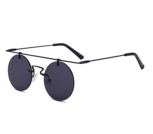 de cadre vintage UV400 sans classiques ronde Lunettes soleil Keephen rondes Noir steampunk sans monture Gris wW75qSPS8C