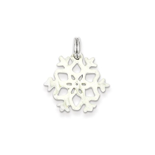 .925 Sterling Silver Enameled Snowflake Charm Pendant (Enameled Snowflake Charm)