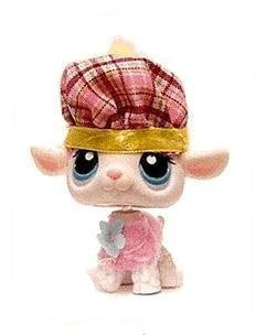 Hasbro Littlest Pet Shop Girl Lamb Sheep # 396 (White/Beige with Blue Eyes) - LPS Loose Figures - Replacement Pets - LPS Collector Toy (Out of Package/OOP)