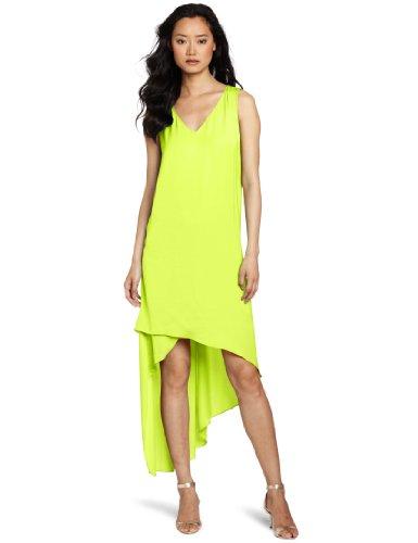 BCBGMAXAZRIA Women's Avery V-Neck Dress With Asymmetrical Hem