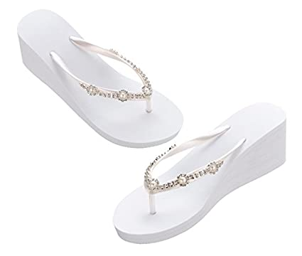 60f8302c50f748 Lillian Rose White Pearl Rhinestone Wedge Flip Flops Large  Amazon.co.uk   Kitchen   Home