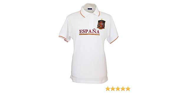 Pi2010 – Polo España Blanco, Bordado Delantero, Escudo Selección Española en Pecho, Bandera España en Cuello y Mangas, 100% algodón