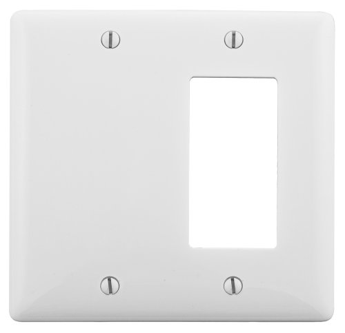 Bryant Electric NP1326W 2-Gang 1 Decorator/GFCI 1 Blank Wall Plate, (Two Gang Blank Cover)