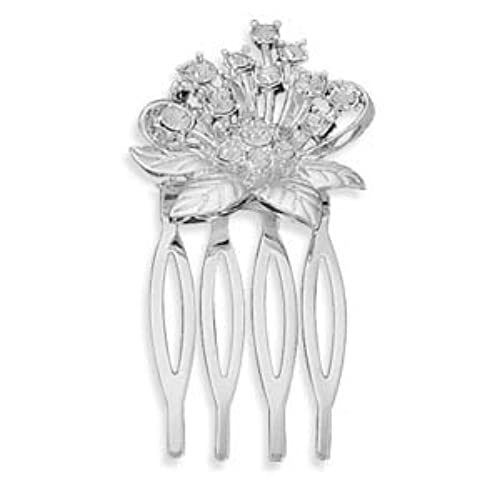 1.5 Inch Silver Plated Base Metal and Swarovski Element Crystal Flower Design Fashion Hair Comb