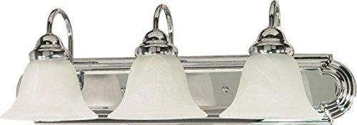 - Filament Design 7777946317 3-Light Polished Vanity Light with Alabaster Glass Bell Shades, Chrome