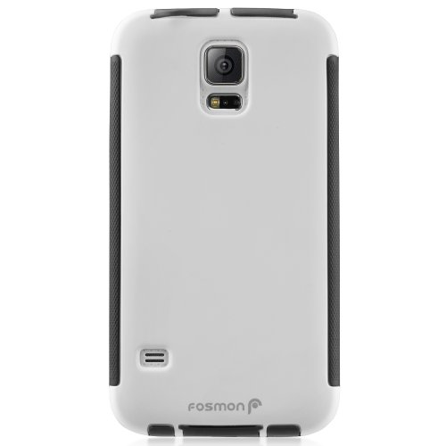 Fosmon HYBO-SNAP Durable Full Body Protection Hybrid Case with Built-In Screen Protector for Samsung Galaxy S5 - Retail Packaging (White / Black)