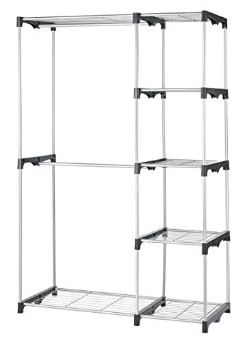 Type A Closet Organizer | Freestanding Closet System with Shelves & Rods to Organize & Store Your Wardrobe and Garments | Perfect for Your bedroom, Entryway or Home | 5 Shelves & 3 Hanging Rods, Black