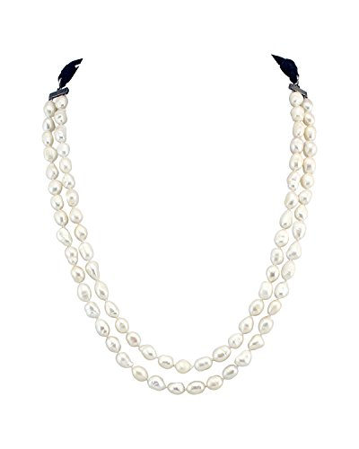 Baroque Double Pearl Necklace Strands (MAIMANI Double Strand Simulate Pearl Necklace Baroque Irregular Pearls with Leather Cord Adjustable 45