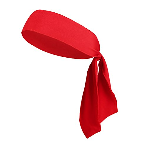 Price comparison product image Greenery-GRE Tie Headband, Quick Dry Sweatband Head Tie Sports Headband for Women Men, Moisture Wicking&Performance Stretch Sweat Hair Band Wrap Headwear for Running Tennis Cycling Gym Workout (Red)