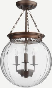 Glass Pendant Large Bowl (Quorum Lighting 6920-3-86, Pendant Large Round Pendant, 3LT, 60 Watts, Oiled Bronze w/ Clear)