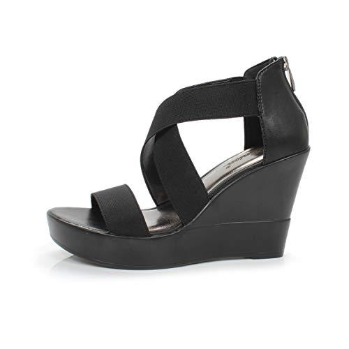 e051f2b6462 DUNION Women s AWE Zip Closure Crisscross Straps Platform Wedge Sandal  Wedding Party Dress Shoe