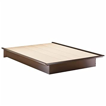 basic collection platform bed with moulding queen size chocolate contemporary design by - Bed Frames Amazon