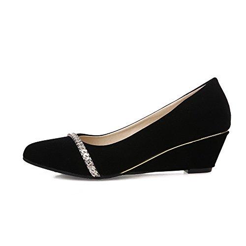 Amoonyfashion Gonnellino Da Donna Tacco Massiccio A Punta Chiusa Scarpe-scarpe Nere
