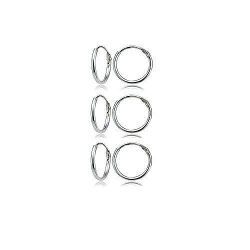 (Sterling Silver Small Endless 10mm Round Unisex Hoop Earrings, Set of 3 Pairs)