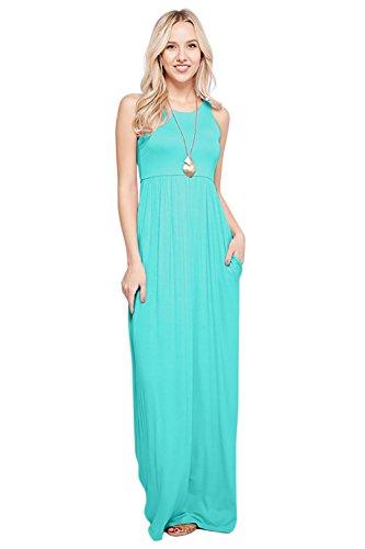 (Maxi Dresses for Women Solid Lightweight Long Racerback Sleeveless W/Pocket -Mint)