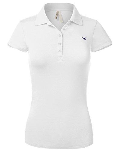 Luna Flower Slim Fit Long Waist Short Sleeve Plain Polo Tee Shirts 102-White US M