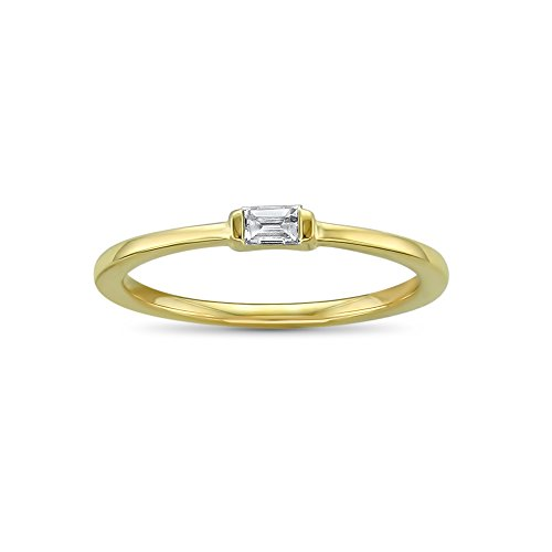 Ring Diamond Baguette Solitaire - 14k Yellow Gold Baguette Solitaire Diamond Promise Ring (1/10 cttw, I-J, SI2-I1), Size 4.5