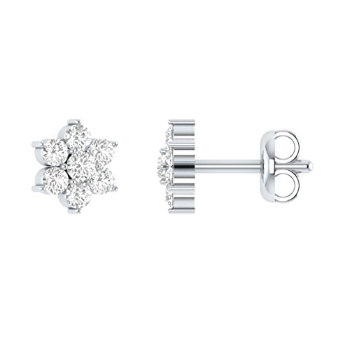0.15 cttw Real Diamond 10k Solid White Gold Flower Shaped Stud Earrings