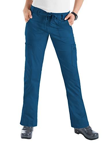 Scrubs Drawstring Uniform Waist - Koi Women's Skinny Stretch Petite Lindsey Mid-Rise Drawstring Waist Cargo Scrub Pant - Medium Petite - Deep Sea