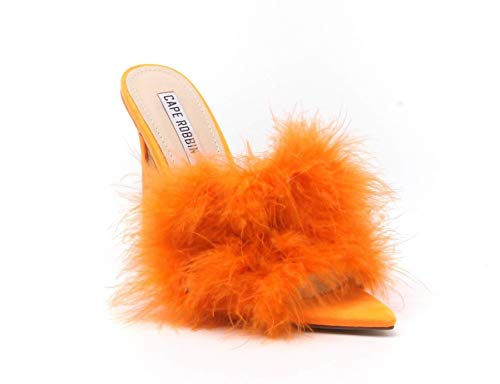 (CAPE ROBBIN Women Faux Fur Open Pointy Toe Stiletto Mule Heel Sandal (7.5, Orange))
