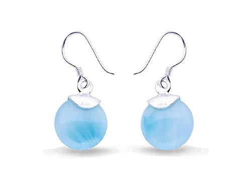 Silver Larimar Hook Earrings Women's Jewelry Drop Dangle Blue Natural Handmade Fashion Gemstone Classic Round Cut Earrings for Women and Girls