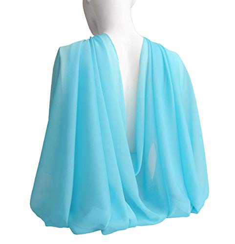 Blue Turquoise Wide Long Scarf for Women Evening Wrap Formal Shawl Lightweight Cocktail Chiffon Stoles Mother's day Gift 77