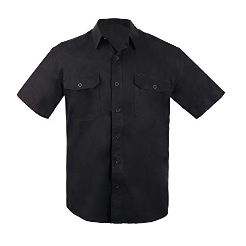 - EXCELLENT ELITE SPANKER Men's 100% Pure Silk Shirt Regular Fit Short Sleeves Camp Shirt(BLK-L)