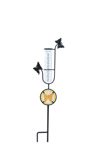Toland Home Garden Butterfly Decorative Outdoor Garden StakeRain Gauge Statuewith Glass Udometerfor Yards, Gardens, and Planters 218180 by Toland Home Garden