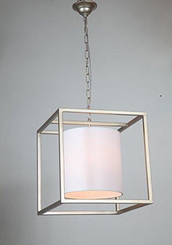Dst Square Metal Frame Pendant Chandelier Ceiling Light Fixture with White Fabric Shade for Dining Room, Stair, Foyer, Length 40.5 cm/15.93