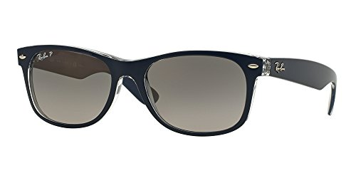 Ray Ban RB2132 6053M3 55M Blue On Transparent/Gradient Grey Polarized NEW - Wayfarer Sizes New