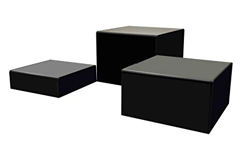 Marketing Holders Cube Display Nesting Risers Showcase Collectables Pedestald for Trinkets Figurines Trophy Dolls Hollow Bottoms Acrylic Black Pack of 3 by Marketing Holders (Image #3)