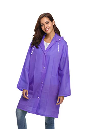 Waterproof Button Rain Poncho Disposable Ladies Raincoats Jackets Hooded Outdoor