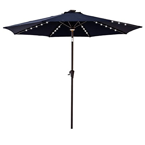 C-Hopetree 9 feet Round Solar-Power LED Outside Patio Umbrella Crank Winder 8 Ribs Push Button Tilting Navy Blue
