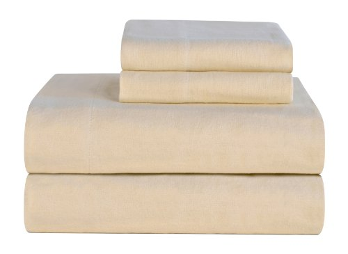King Size Flannel Sheets (Celeste Home Ultra Soft Flannel Sheet Set with Pillowcase, King, Cloud Cream)