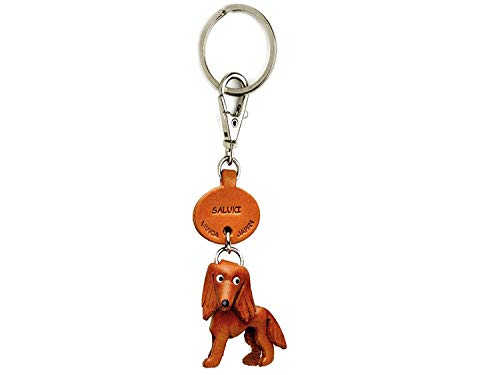 Saluki Leather Dog Small Keychain VANCA Craft-Collectible Keyring Charm Pendant Made in Japan