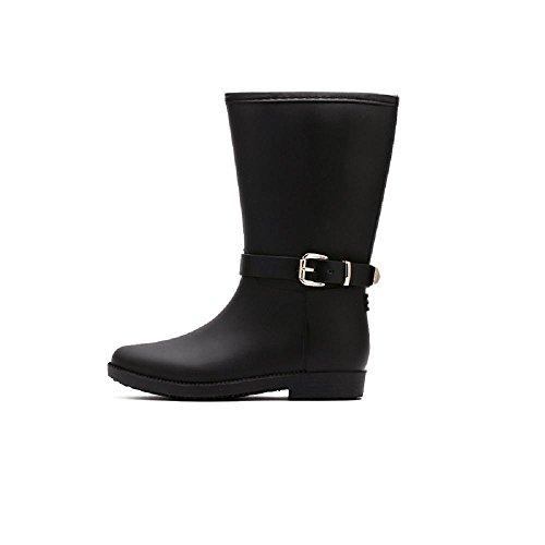Fashion Women's or girls ' Waterproof Martin boots Rain boots Black JKv99pb