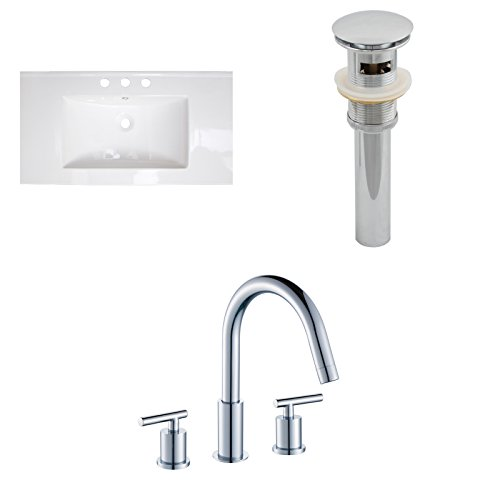 """Jade Bath JB-16677 32"""" W x 18"""" D Ceramic Top Set with 8"""" o.c. CUPC Faucet and Drain, White new"""